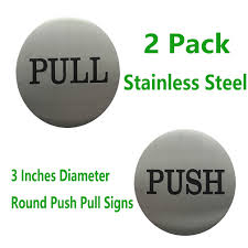 reliancer 2 pair 3 round engraved push pull door signs set premium stainless steel self adhesive vinyl stickers for indoor outdoor use brushed silver