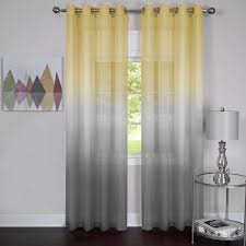 this semi sheer curtain panel comes in two diffe ombre patterns the yellow to grey