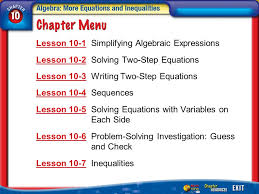 2 lesson 10 1 simplifying algebraic expressions lesson 10 2 solving two step equations