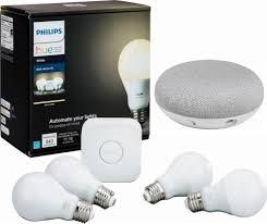Google Home Mini Smart Light Starter Kit Philips Hue White A19 4 Bulb Starter Kit Google Home Mini