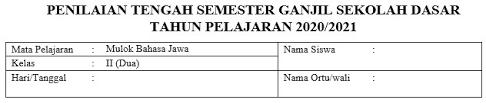 Contoh soal bahasa indonesia kelas 7 semester 1 dan semester 2 kurikulum 2013 untuk kisi kisi latihan soal uas mid semester berupa soal pilihan ganda dan essay semua bab 1, 2, 3, 4, 5, 6, 7 dst beserta kunci jawabannya dan pembahasannya lengkap. Doawnload Soal Pts Mulok Bahasa Jawa Kelas 1 6 Sd Mi Semester 1 Edisi 2020 Mayfile