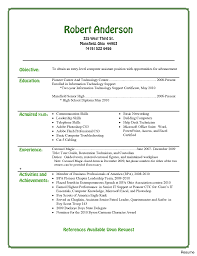 Template Entry Level Resume Template Word Professional Objective And