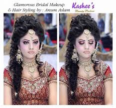 glamorous bridal makeup and hair styling by anum aslam kashees