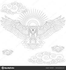 イーグル鳥大人ベクトル イラストの塗り絵 ストックベクター