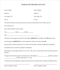 Vehicle Sale Agreement Template Purchase Car And Form Used