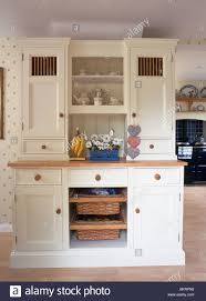 Kitchen Dresser Cream Fitted Kitchen Dresser With Integral Storage Baskets In