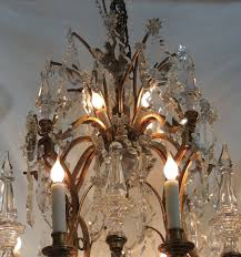 belle Époque grand baccarat french louis xv dore bronze and twenty light crystal chandelier for