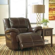 ashley furniture lenoris leather swivel rocker recliner in coffee