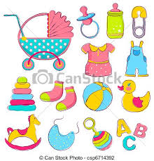 Baby Things Clipart Baby Item Illustration Of Different Item For Baby Including Toys