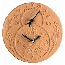 astounding gardman terracotta garden clock and thermometer regarding outdoor thermometer and clock prepare