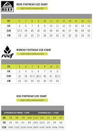 Reef Kids Size Chart 47 Bright Sizing Chart Conversion
