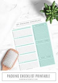 Travel Packing List Free Printable Somewhat Simple
