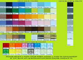 Lego Brick Colour Chart Lego Brick Color Chart Transparent Metallic Brick