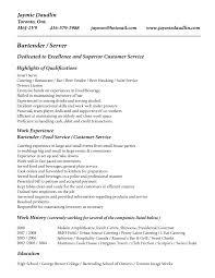 Bartender Resume Examples Resume Templates