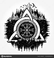 кельтский троицы узел шлем благоговения Aegishjalmur тату