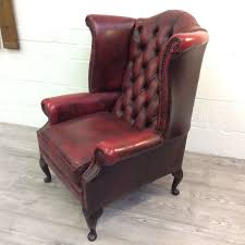 sold furniture large wing comfortable chesterfield oxblood leather queen anne wingback armchair