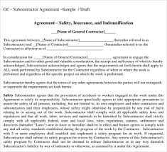 Subcontractor Agreement Format Subcontractor Agreement Template Cycling Studio
