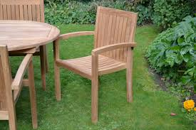 view the full image 8 seater teak garden set clearance stacking chair