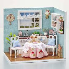 diy wooden doll house toy dollhouse miniature assemble kit with led furnitures handcraft miniature dollhouse happy kitchen model big doll house furniture