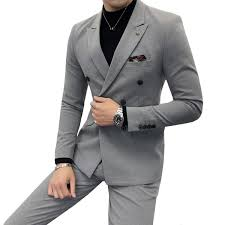 <b>Men</b> Double-breasted Suit Two-piece Slim Fashion <b>Autumn New</b> ...