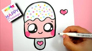 How To Draw A Cute Pink Ice Cream Easy