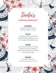 Party Menu Blue Orange Holiday Illustration Dinner Party Menu Templates By Canva