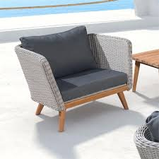 zuo grace bay outdoor arm chair in natural and gray