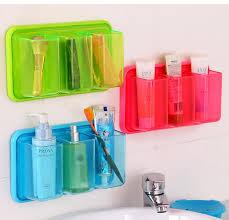 plastic 3 grids bathroom toothbrush holder self adhesive wall shelf kitchen debris storage rack