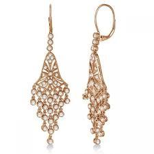 bezel set dangling chandelier diamond earrings 14k rose gold 2 27ct