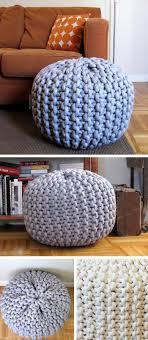 Extra large knit pouf footrest