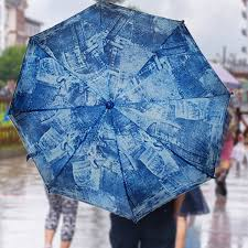 rainstoppers 42 umbrella with wood hook handle jean print outside umbrella