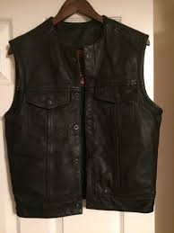 first blk leather club vest men s biker gear snap frontsize small classics nnideh4070 coats jackets