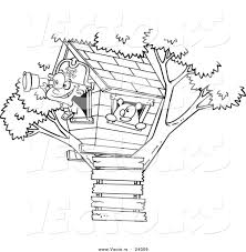 Small Picture Vector of a Cartoon Pirate Boy in His Tree House Black and White
