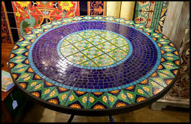 how to make a tile table top for outdoors round mosaic patio table