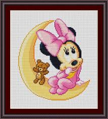 Baby Minnie Mouse On The Moon Free Cross Stitch Pattern