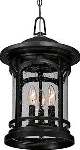 luxury rustic outdoor pendant light large size 18 h x 11 w with colonial style elements wrought iron design high end black silk finish and seeded glass