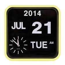 lemon sorbet retro square calender flip clock  wall clocks  cult uk