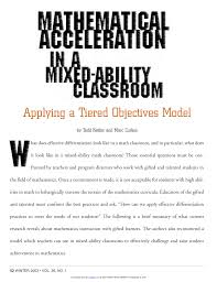 pdf mathematical acceleration in a mixed ability clroom applying a tiered objectives model