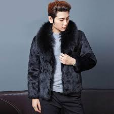 2018 men faux fur coat long style winter warm casual cool faux fox fur overcoat brief collar outerwear slim fit leather jacket from seein 82 85 dhgate
