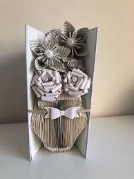 handmade folded book art folded vase and flowers thank you gift birthday display