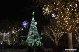 The main Christmas tree is seen during the lighting ceremony at the Manger  Square, outside