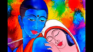 lord krishna and radha glass painting