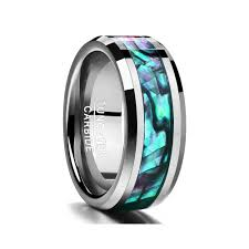 Tungsten Carbide Ring Size Chart Fine Jewelry 8mm Inlaid Abalone Shell Beveled Steel Tungsten