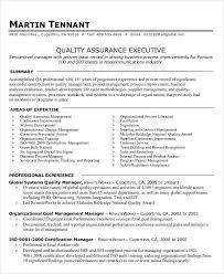 Quality assurance executive resume: