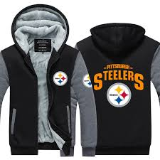 pittsburgh steelers winter thicken hoo warm sweatshirt lacer zipper jacket