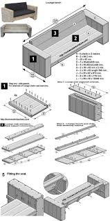 free construction drawings for a homemade garden bench