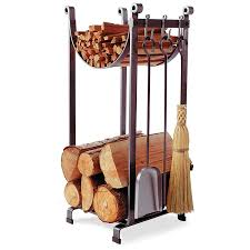 com enclume sling log rack with fireplace tools hammered steel home kitchen