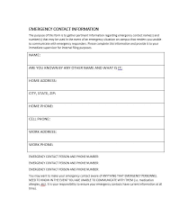 Employment Emergency Contact Form 54 Free Emergency Contact Forms Employee Student