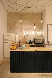 Industrial Style Kitchen Lighting Industrial Style Kitchen With Brick Wall And Pendant Light Design Lighting
