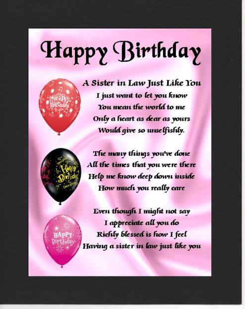 happy birthday sister in law poems